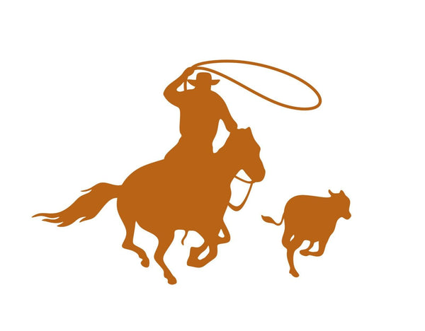 Calf Roper Rodeo Rider Cowboy - Vinyl Decal Free Shipping #005