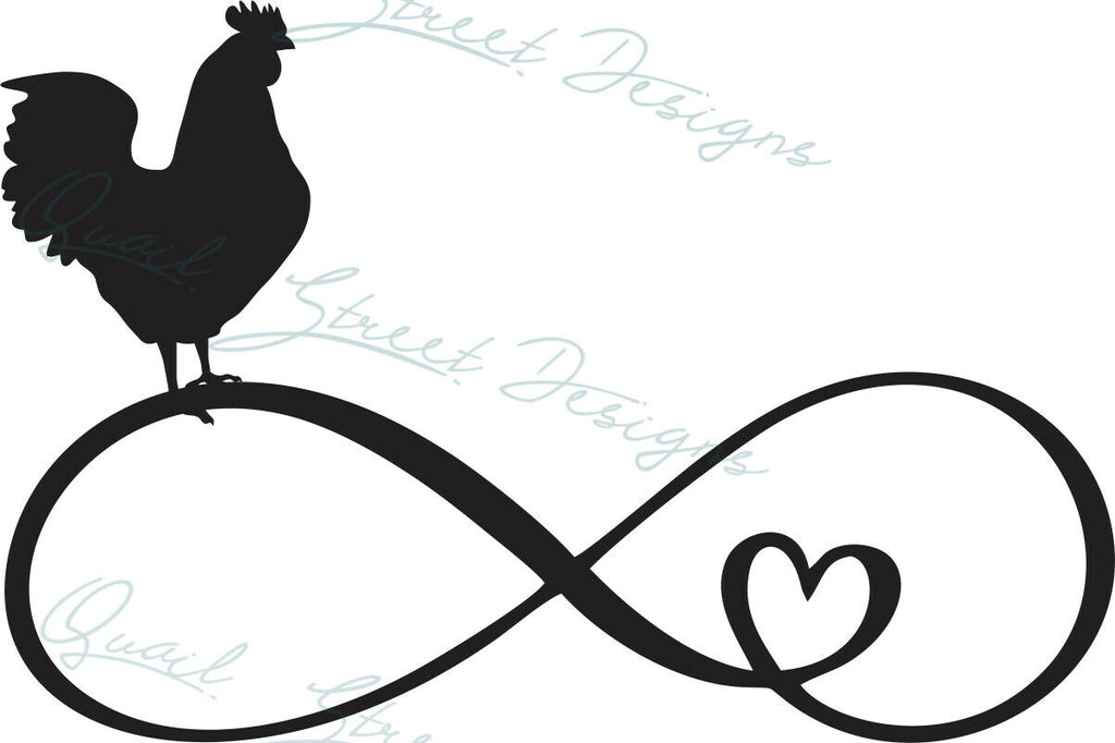 Infinity Heart Chicken - Vinyl Decal Free Shipping #1365