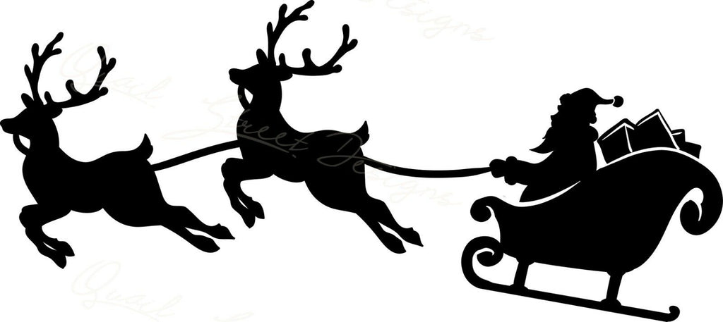 Santa & Two Reindeer Flying - Vinyl Decal Free Shipping #839A