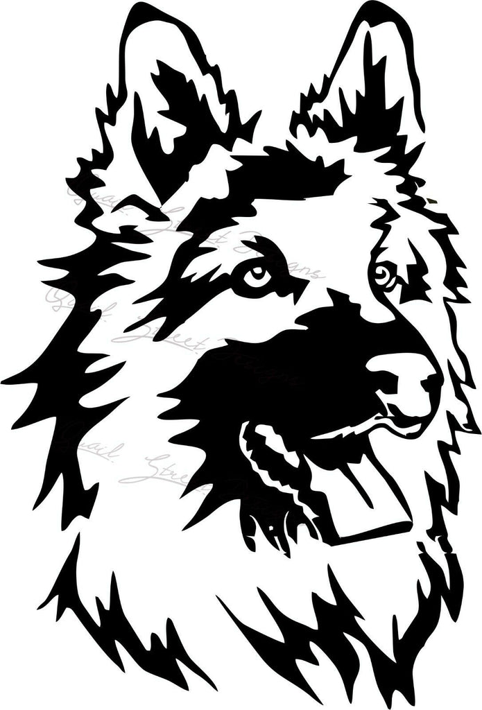 Long Haired German Shepherd Dog  - Vinyl Decal Free Shipping #1975