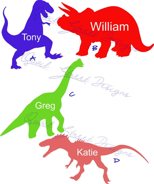 Personalized Dinosaurs - Vinyl Decal Free Shipping #1018