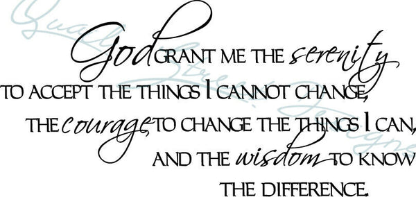 God Give Me The Serenity Prayer - Christian - AA - Vinyl Decal Free Ship 45