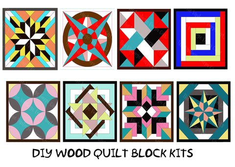 Wood Quilt Block Kit – DIY – Home Décor – Paint Painting Party – Puzzle – Paint & Assemble Yourself - Adult Craft Kit - PICK YOUR DESIGN (8 To Choose From)