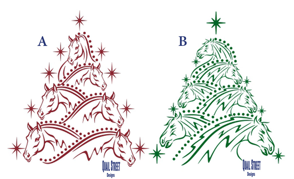 Horse Head Christmas Tree - Two Views To Choose From - Vinyl Decal Free Shipping #23