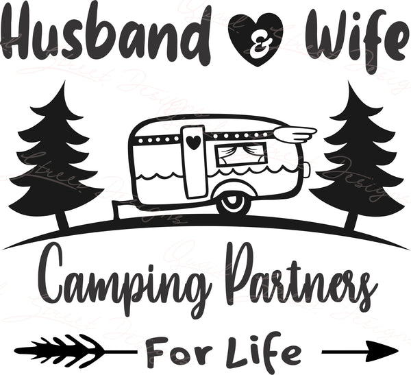 Husband & Wife - Camping Partners For Life - Vinyl Decal Free Shipping  #2032