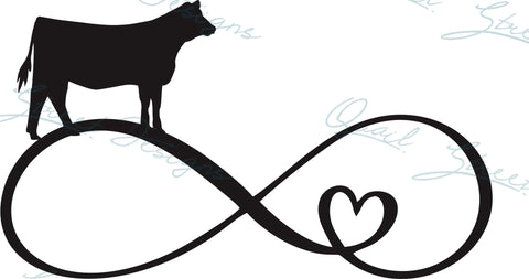 Heifer Cow Cattle Infinity Heart - Digital Download SVG Cut File - #1349