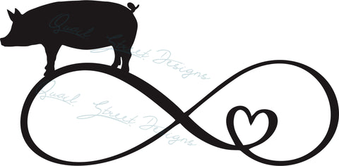 Pig Infinity Heart - Digital Download SVG Cut File - #1360