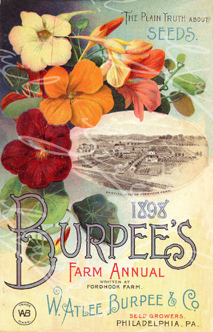 Digital Download - Vintage Seed Catalog - Front Cover of Burpee's 1898 Farm Annual Plant & Seed Catalog  -  QSDP-41