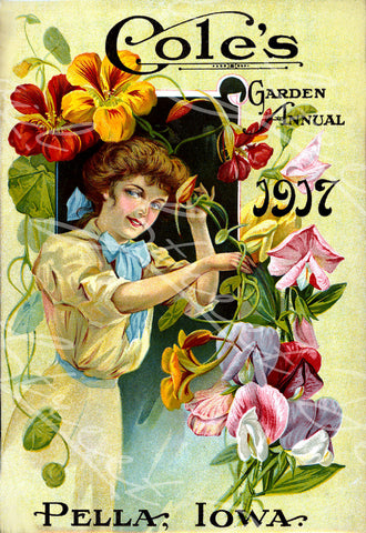 Digital Download - Vintage Seed Catalog - Front Cover of Cole's 1917 Garden Annual Plant & Seed Catalog  Pella, Iowa -  QSDP-75