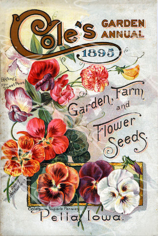 Digital Download - Vintage Seed Catalog -  Front Cover of Cole's 1895 Garden Annual Plant & Seed Catalog  Pella, Iowa - QSDP-84