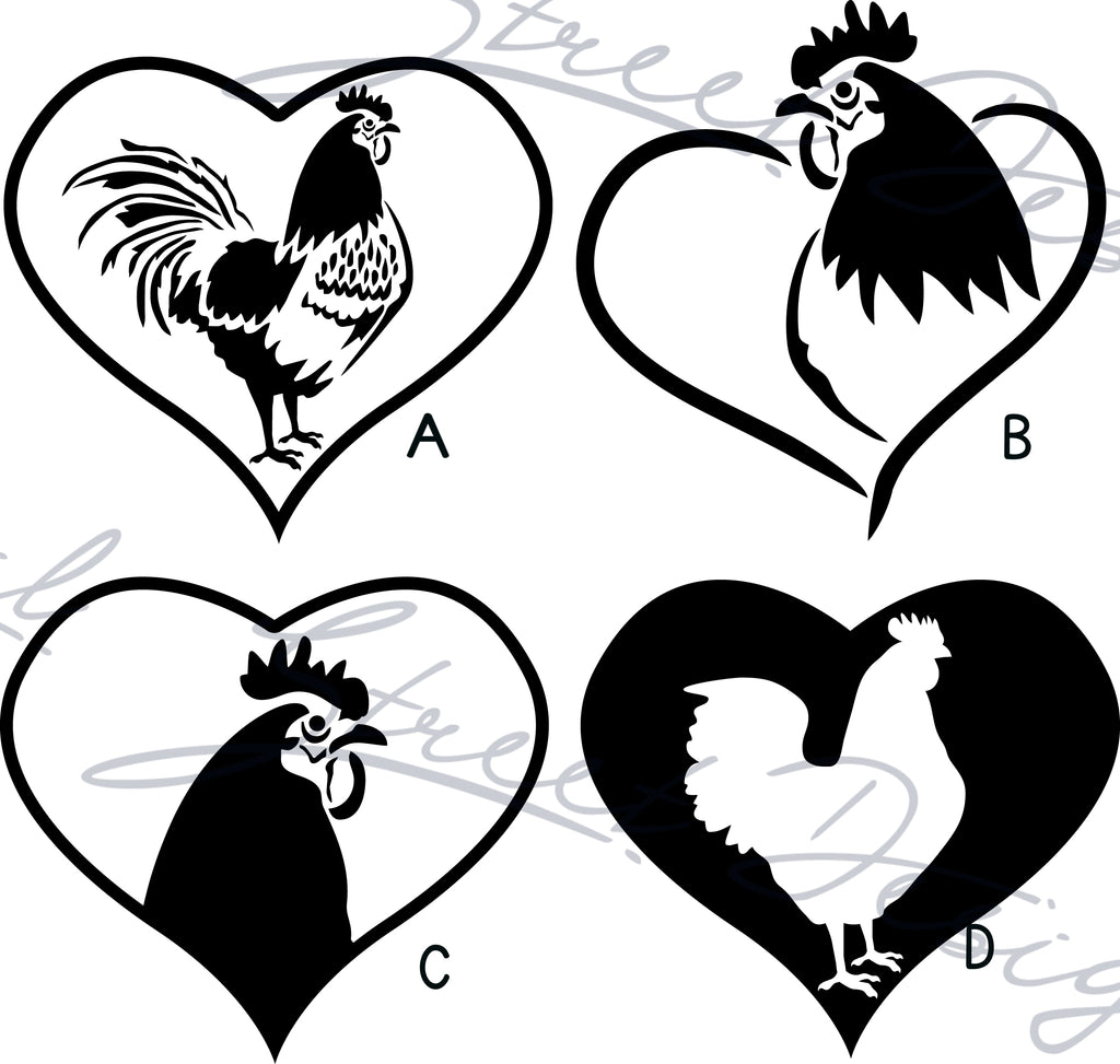 Roosters Chickens In Hearts - Vinyl Decal Free Shipping #344