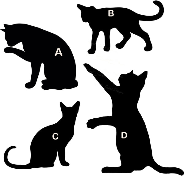 Cat Kitten Silhouette - 4 Views To Choose From - Vinyl Decal Free Shipping #37