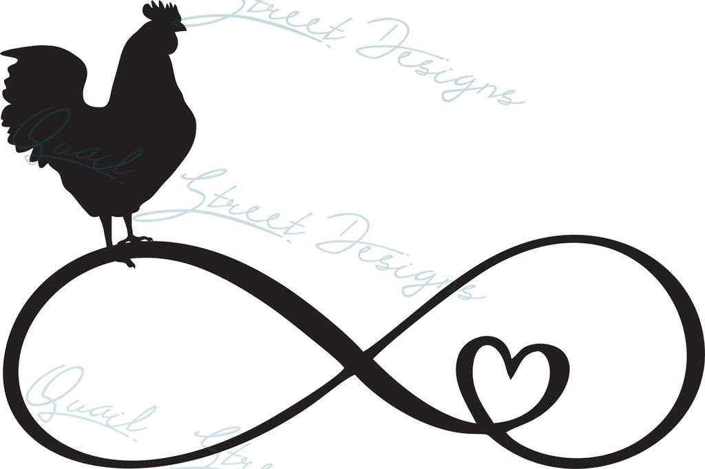 Chicken Poultry Infinity Heart - Digital Download SVG Cut File - #1365