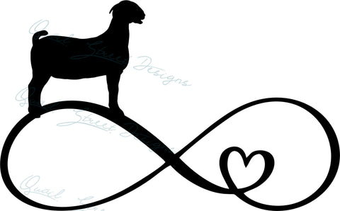 Goat Infinity Heart - Digital Download SVG Cut File - #1361