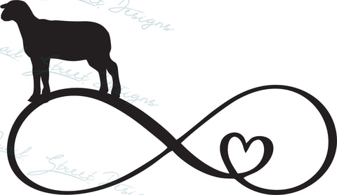 Lamb Sheep Infinity Heart - Digital Download SVG Cut File - #1364