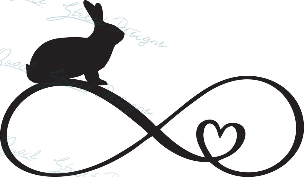 Rabbit Infinity Heart - Digital Download SVG Cut File - #1362