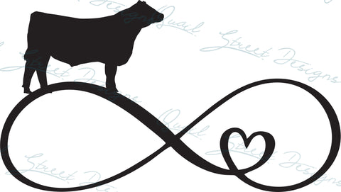 Steer Cow Infinity Heart - Digital Download SVG Cut File - #1363