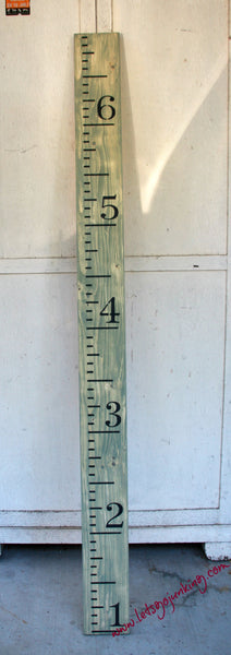 Hand Painted Wood Growth Chart Ruler - Custom Colors - Made in Texas