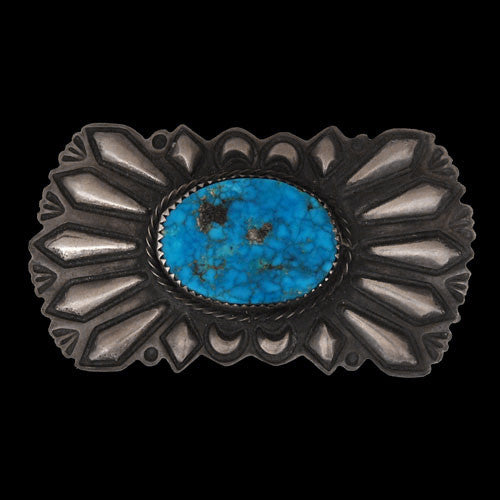 2e5a2ca4b 1970s Silver & Water Web Morenci Turquoise Pin (#42)