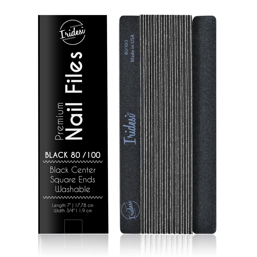 Professional Nail Files Black Color Coded Center Washable Emery Boards 7 Inches Long Square End Serrated Edge 12 Fingernail Files Per Pack