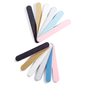 Iridesi Professional Colorful Mini Finger Nail Files Washable Emery Boards 3-1/2 Inches Long 12 Fingernail Files Per Pack