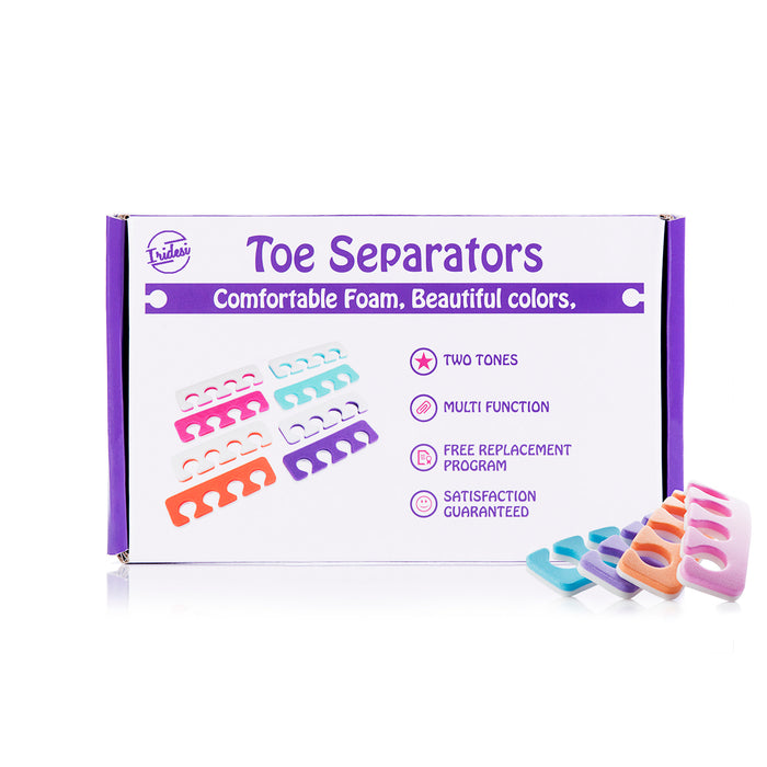 Iridesi Toe Separators, Soft Two Tone Toe Spacers, Great Toe Cushions, Apply Nail Polish During Pedicure and Other Uses, 12 Pack