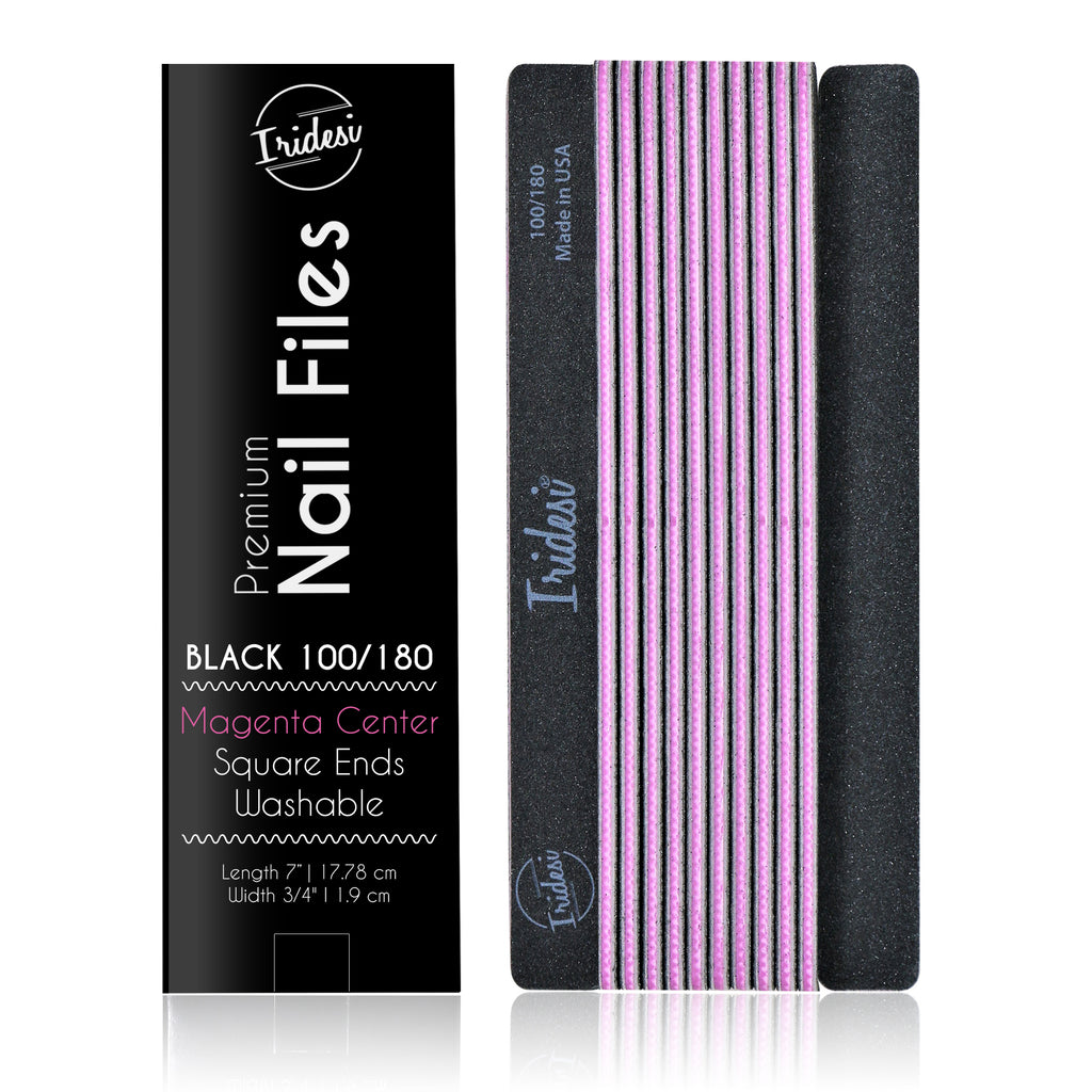 Professional Nail Files Black Color Coded Center Washable Emery Boards 7 Inches Long Square End Serrated Edge