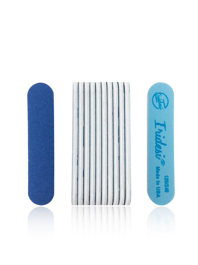 Iridesi Professional Mini Blue Finger Nail Files 120/240 Washable Emery Boards 3-1/2 Inches Long 12 Fingernail Files Per Pack