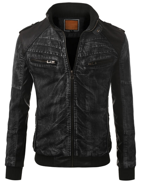 BLKBLK Black Faux Leather Trim Denim Rider Jacket- MONDAYSUIT