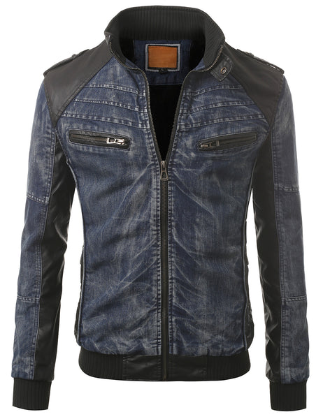 BLUEBLK Black Faux Leather Trim Denim Rider Jacket- MONDAYSUIT