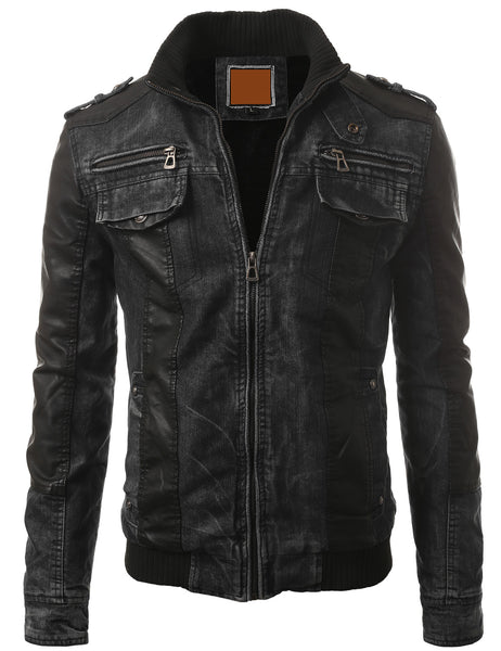 BLACK Zipper Faux Leather Trim Denim Rider Jacket- MONDAYSUIT