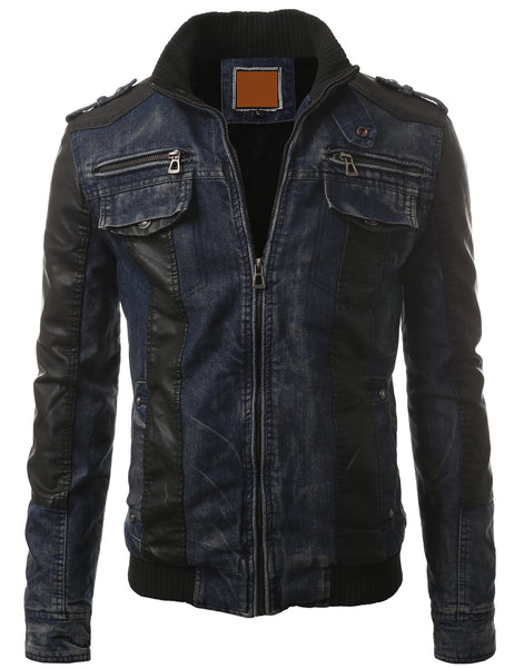BLUE Zipper Faux Leather Trim Denim Rider Jacket- MONDAYSUIT