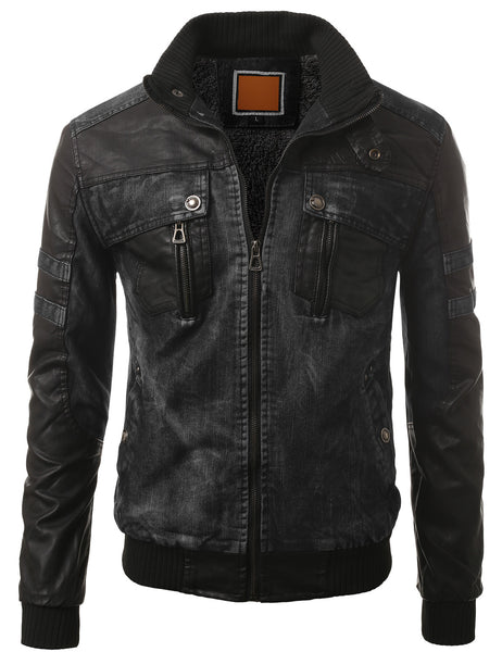 BLACK Faux Leather Trim Denim Rider Jacket- MONDAYSUIT
