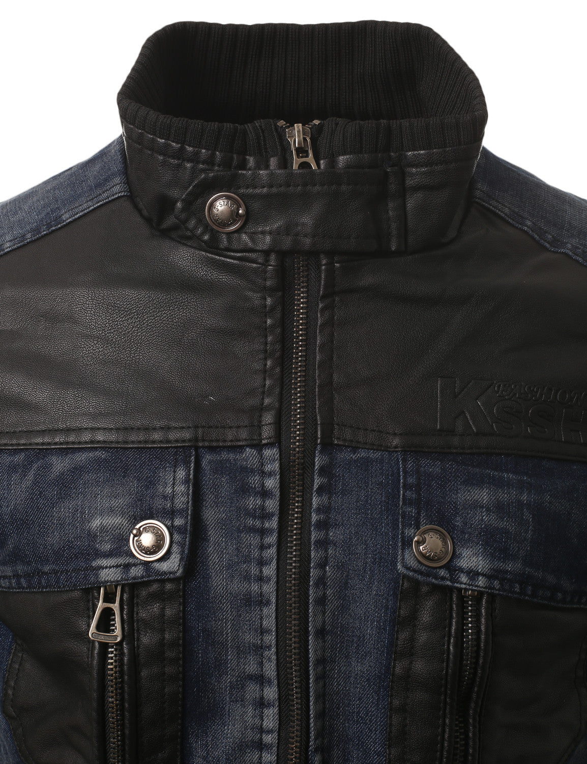 BLUE Faux Leather Trim Denim Rider Jacket- MONDAYSUIT