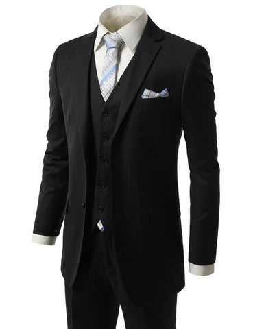 Striped Black Regular Fit 3 Piece Suit