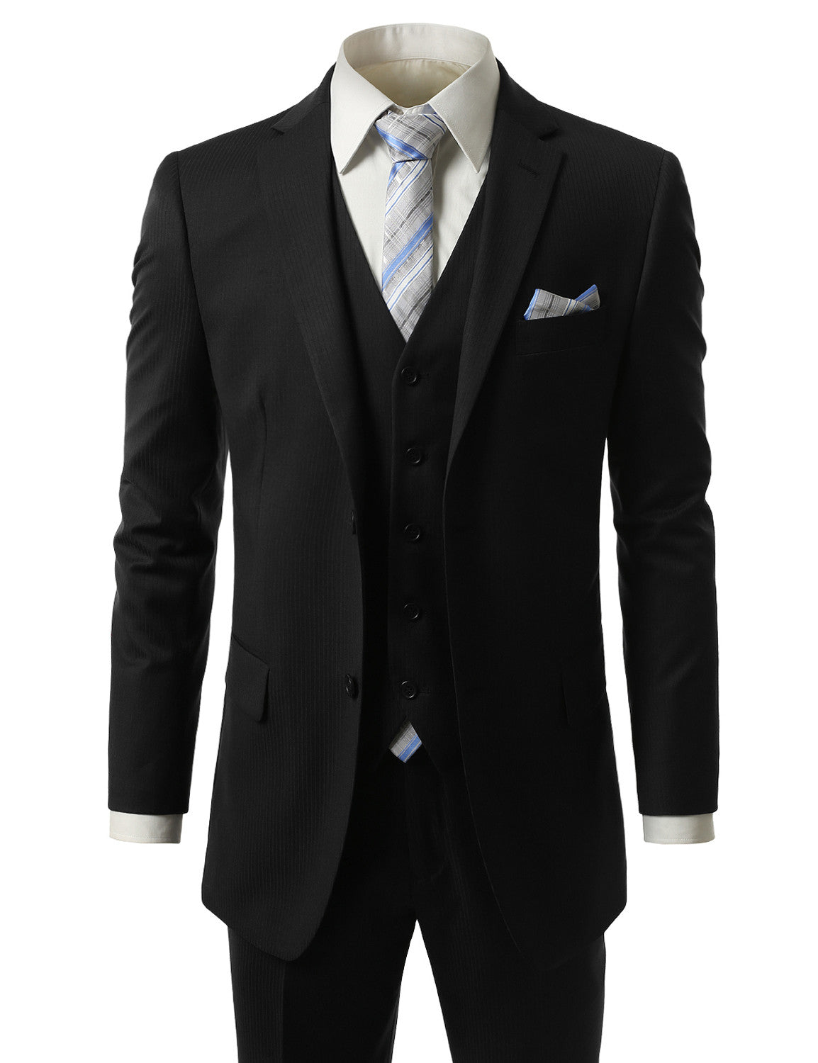 Striped Black Regular Fit 3 Piece Suit- MONDAYSUIT