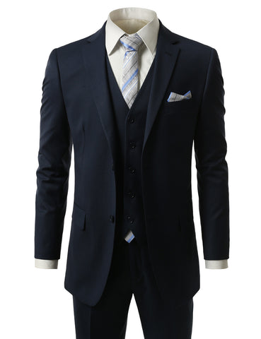 Striped Blue Regular Fit 3 Piece Suit