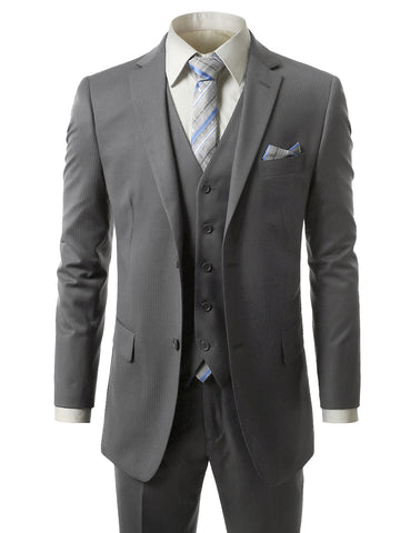 Striped Gray Regular Fit 3 Piece Suit