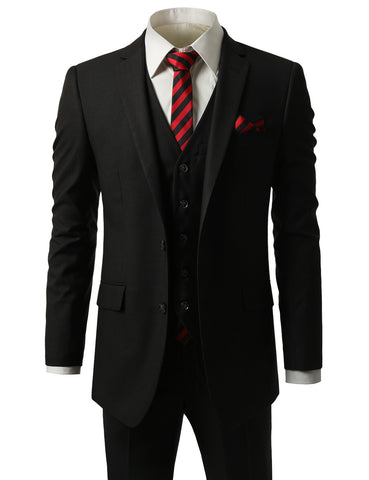Striped Black Slim Fit 3 Piece Suit