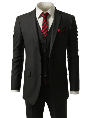 Striped Charcoal Slim Fit 3 Piece Suit