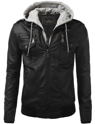 PU Leather Buckled Hooded Jacket