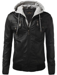 BLACK PU Leather Buckled Hooded Jacket - MONDAYSUIT