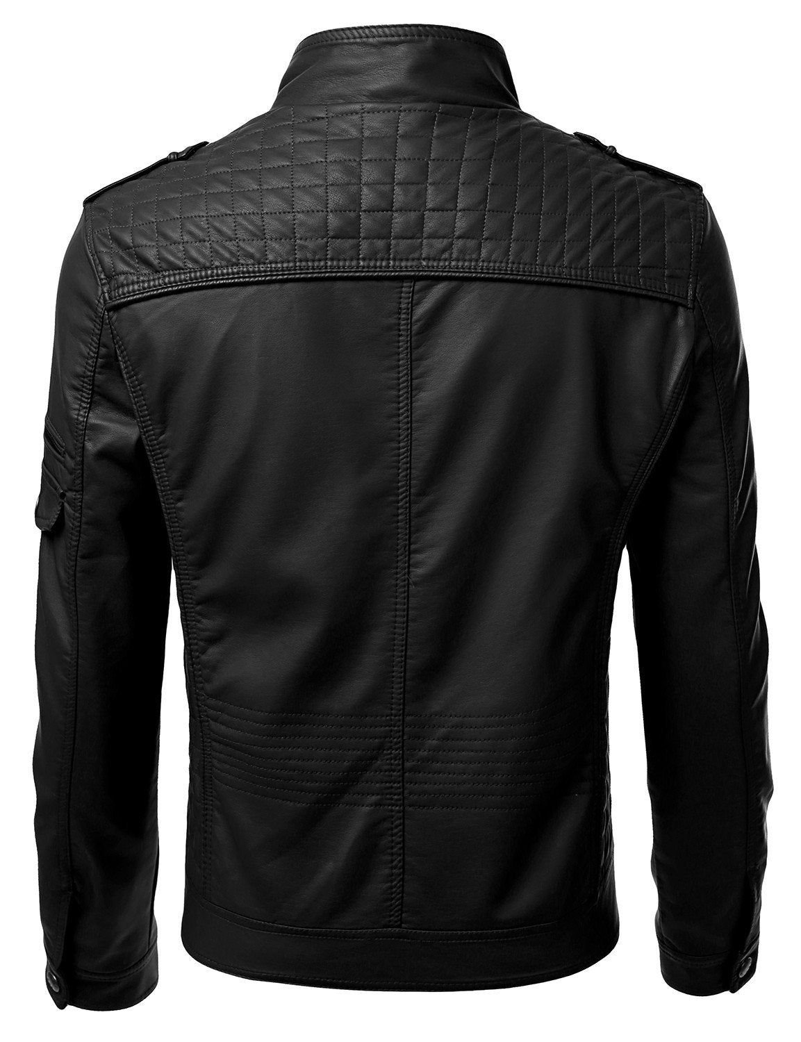 BLACK PU Leather Zippered Jacket - MONDAYSUIT