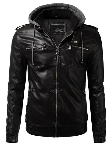 PU Leather Zippered Hooded Jacket