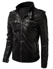 BLACK PU Leather Zippered Hooded Jacket - MONDAYSUIT