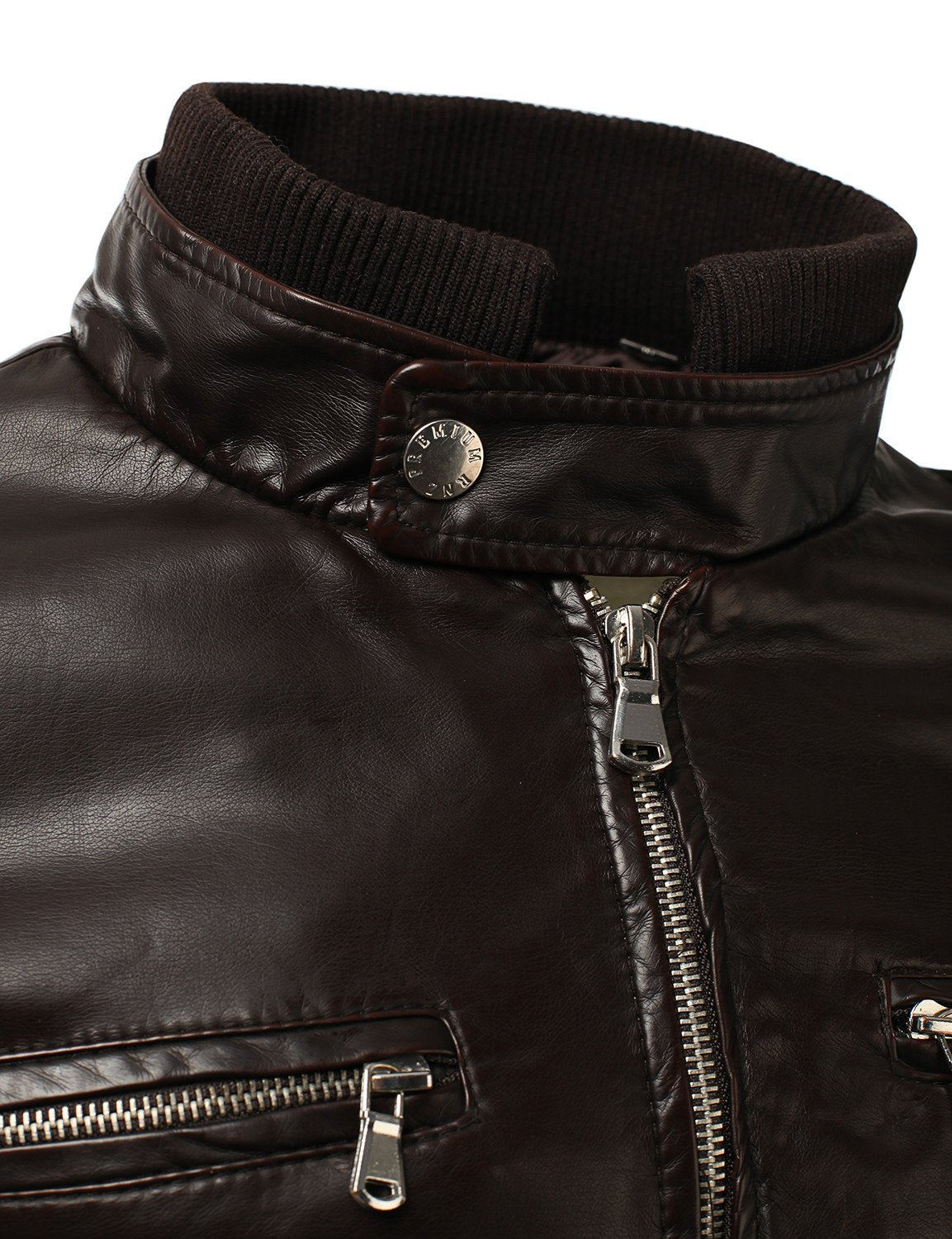 BROWN PU Leather Zippered Hooded Jacket - MONDAYSUIT