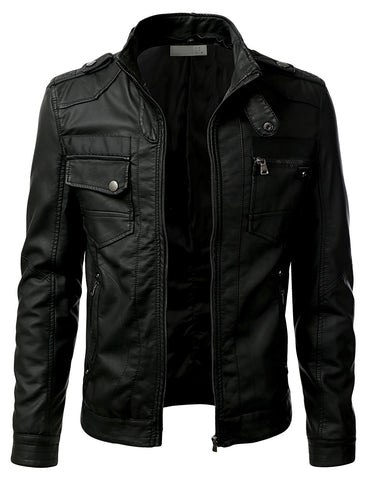 PU Leather Designer Zippered Hoodie Jacket
