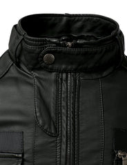 BLACK PU Leather Designer Zippered Hoodie Jacket - MONDAYSUIT