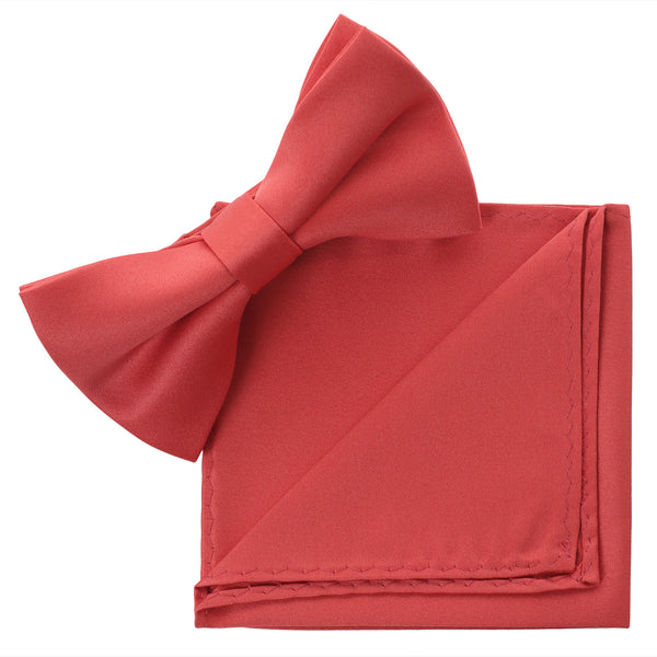 CORAL Bow Tie and Handkerchief Set- MONDAYSUIT