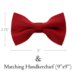 RED Bow Tie and Handkerchief Set- MONDAYSUIT